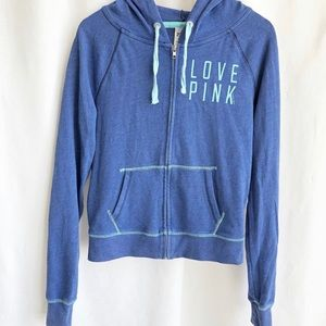 Pink heather blue hoodie